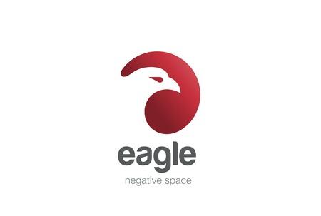 Eagle Logo design vector template negative space. Creative Wild Bird Falcon Hawk in circle Logotype concept icon. 일러스트