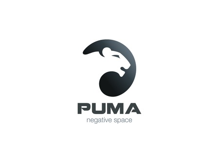 Wild Puma Logo design vector template negative space.  Creative Animal in circle Logotype concept icon. Ilustração