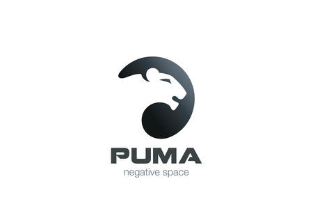 Wild Puma Logo ontwerp vector template negatieve ruimte. Creative Animal in cirkel Logotype concept pictogram.