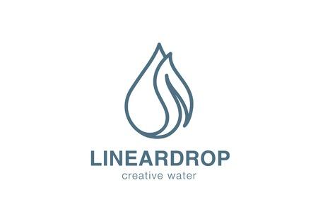 Eco Waterdrop liści Logo design szablon wektora liniowa stryle. Mineralne naturalne jasne ekologia woda Aqua Logotyp. Zielona ikona Zarys koncepcji energetycznej. Logo