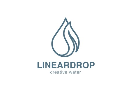 Eco Waterdrop leaf Logo design vector template linear stryle.  Natural mineral clear ecology water aqua Logotype. Green Energy concept outline icon. Illustration