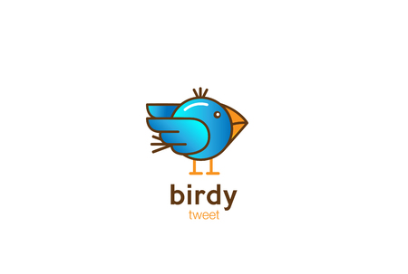 wild canary: Funny Blue Bird abstract Logo design vector template cartoon linear style
