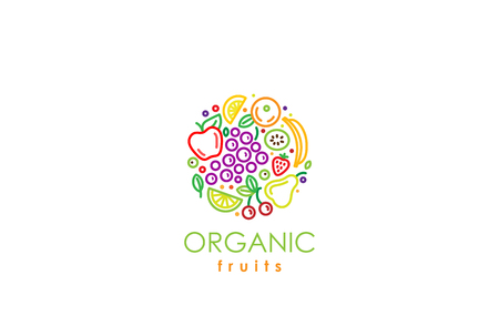 fresh food: Healthy Organic eco vegetarian food Logo design vector template.  Ecology fresh from farm fruits Logotype concept icon.