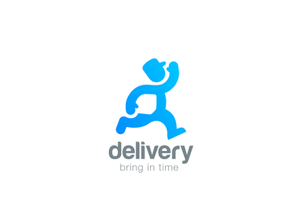 couriers: Express Delivery man courier silhouette Logo design vector template negative space style.  Fast Speed Running messenger abstract Logotype concept icon. Illustration