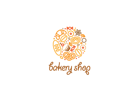 Creative circle Bakery shop Logo design vector template linear style. Bread croissant sweets cake Logotype concept outline lineart icon.