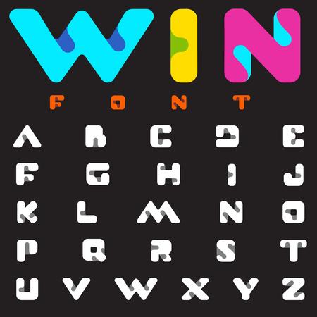 printed: Font vector technology science monogram alphabet design.  ABC Letter Logo template. Creative digital typeface
