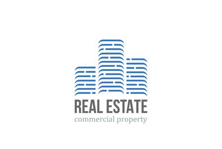 Real Estate modèle de vecteur de conception. Skyscrapers silhouette bâtiments de la ville. centre d'affaires de l'immobilier de bureau commercial. construction d'entreprise icône identité. Banque d'images - 52809999