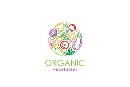 Healthy Organic eco vegetarian food Logo design vector template. Ecology fresh from farm vegetables Logotype concept icon.  イラスト・ベクター素材