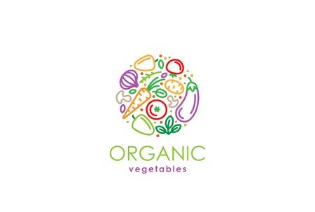 Healthy Organic eco vegetarian food Logo design vector template. Ecology fresh from farm vegetables Logotype concept icon. 일러스트