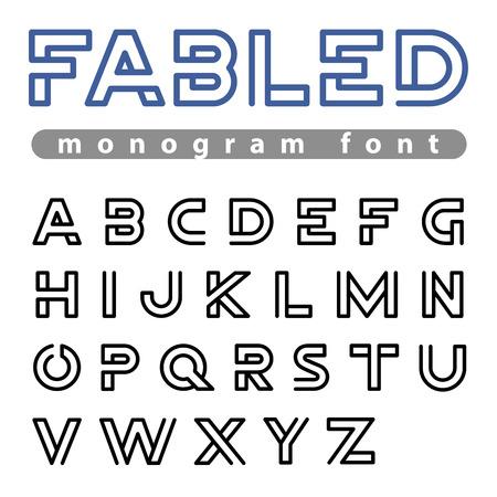 tech logo: Monogram Logo Font vector alphabet design Negative space linear style.  ABC Letter Logotype templates. Creative outline typeface