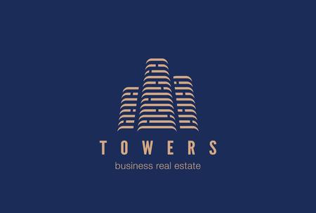 Nieruchomości Budowa Logo wektora projektowania szablonu. Wieżowce sylwetka budynki miejskie. Lokale biurowe centrum biznesowe Financial Logotyp. Corporate identity ikona Finanse wypoczynkowy.