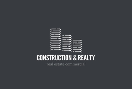 office construction: Real Estate Construction Logo design vector template. Skyscrapers silhouette city buildings.  Commercial office property business center Logotype. Corporate identity icon.