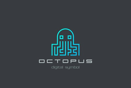 ddos: Digital Octopus Logo shape abstract design vector template.  Virus, Ddos attack, Soft, apps Logotype concept icon.