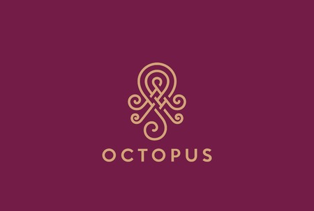Abstract Elegant Octopus Logo design vector template Linear style.  Fashion, Jewelry, Seafood restaurant Logotype concept outline icon.
