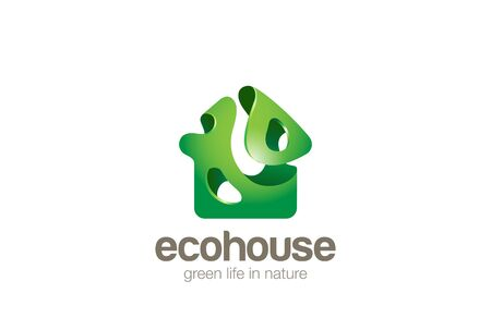 bionic: Eco green House  design vector template bionic splash style. Bio Ecology Home  concept icon.