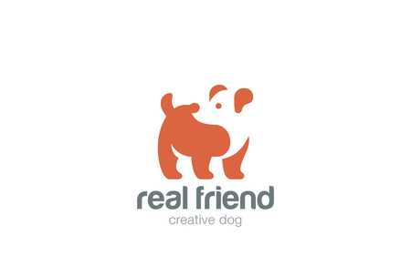 negative space: Dog Logo abstract design vector template Negative space style.  Home pets veterinary Logotype concept icon.