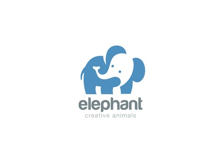 Elephant Logo abstract design vector template Negative space style.  Wild animal zoo Logotype concept icon. Ilustracja