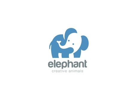 Elephant Logo abstract ontwerp vector template negatieve ruimte stijl. Wild Logotype concept pictogram dier dierentuin.