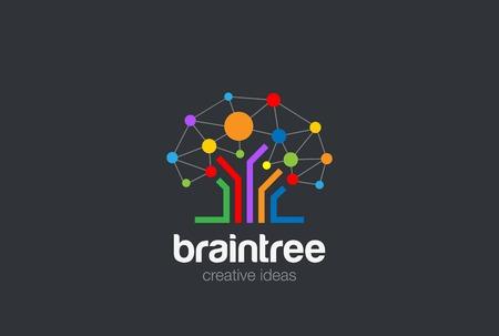 Mózg twórczych pomysłów Logo wektora projektowania szablonu. Drzewo Social Network koncepcji Logotyp. Burza mózgów ikona