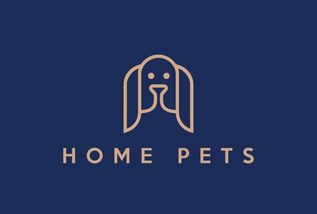 hound: Dog Hound Abstract Logo design vector template Linear style. Home pet lineart icon.  Spaniel head outline fashion Logotype Heraldic concept.