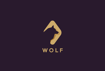 Wolf Head Abstract Logo design template Negative space style.