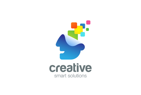 Bright Creative ideas Think Head Logo design vector template.  Inspire Brainstorm Logotype. Brainstorming concept. Thinking man icon. Illustration