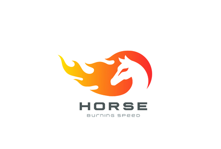 Burning Horse in Fire flame Logo design vector template negative space style.  Inferno Stallion equestrian Logotype. Speed Mustang icon. Иллюстрация