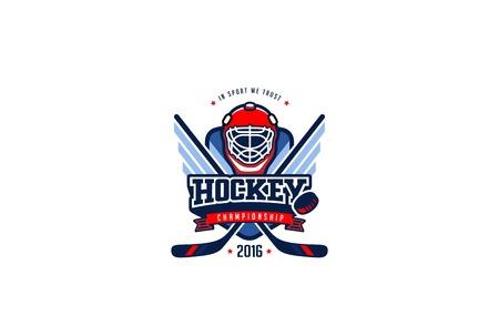 하키 배지 로고 디자인 벡터 템플릿. 티셔츠 그래픽 스포츠 팀 정체성 로고 타입 일러스트 레이 션 흰색 배경에 고립 된 레이블.