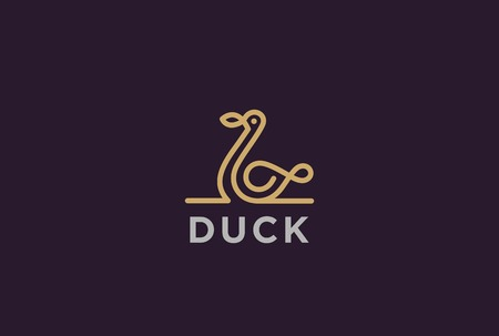 Duck Logo design vector template Linear style. Luxury lineart icon.  Outline Swan Bird Logotype Jewelry Fashion concept. Illustration