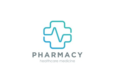 green plus: Pharmacy Cross with cardiogram line Logo design vector template Linear style.   Medical Clinic Healthcare Hospital Logotype. Medicine icon.