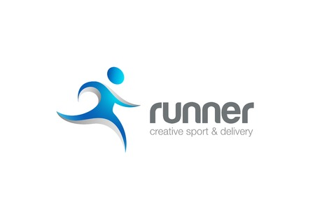 running: Running Blue Character abstract Logo design vector template.  Fitness man Logotype concept icon.