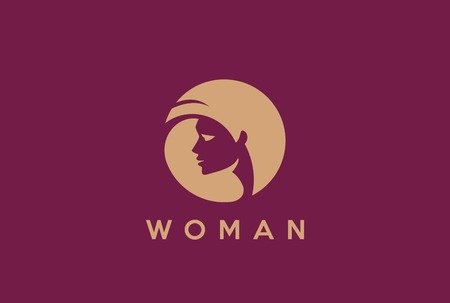 Beautiful woman head in circle abstract Logo design vector template Negative space style.
