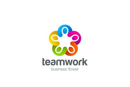 vector plantilla de diseño del logotipo estrellas social. Cinco hombres tomados de la mano del trabajo en equipo. Amistad Asociación de logo trabajo en equipo. Comunidad grupo de unión de triple icono.