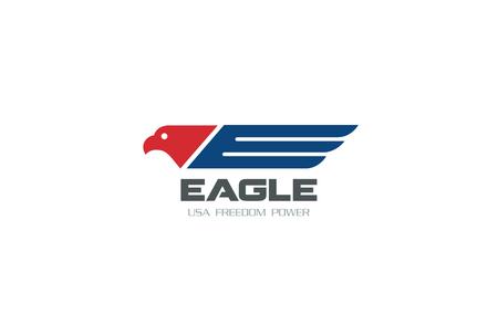Símbolo del águila de la libertad estadounidense Logo Democracia diseño de la plantilla de vectores. USA colores halcón Logotipo concepto de icono. Vectores