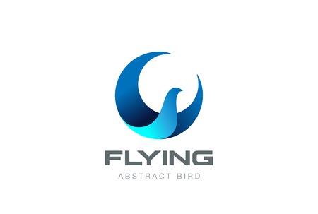 Soaring Flying Bird abstract Logo circle shape design vector template. Falcon Eagle Phoenix Logotype icon.