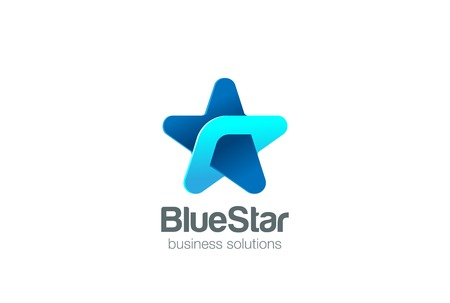 Corporate Blue Star Logo abstract design vector template. Social Business Technology network Logotype concept icon.