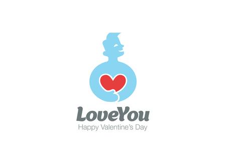 El hombre en el amor de la plantilla de diseño vectorial del logotipo del corazón. Concepto del día de San Valentín. Cardio Logotipo de la Salud. Cardiología icono médica. Foto de archivo - 52813090