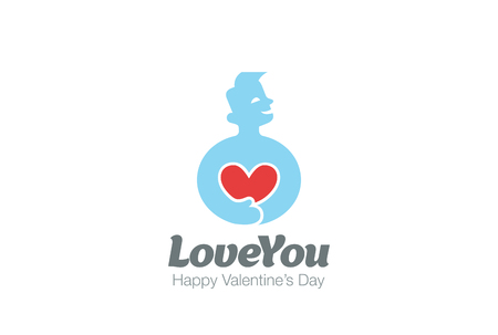 medicine logo: Man in Love holding Heart Logo design vector template.  Valentines day concept. Cardio Health Logotype. Cardiology medical icon.