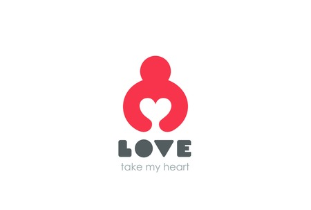 hands holding heart: Man holding Heart Logo design vector template Negative space style. Donation idea.  Valentines day concept. Cardio medical Health Logotype. Take my Love icon. Illustration