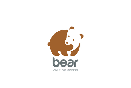 wildlife: Funny Bear Logo silhouette design vector template Negative space style.  Wild animal Logotype concept icon.