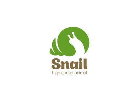 slug: Snail Logo abstract design vector template Negative space style.  Wild animal zoo Logotype slow concept icon. Illustration