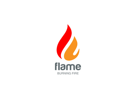 Fire Flame Logo design vector template drop silhouette.  Creative Droplet Burn Elegant Bonfire Logotype concept icon. Иллюстрация