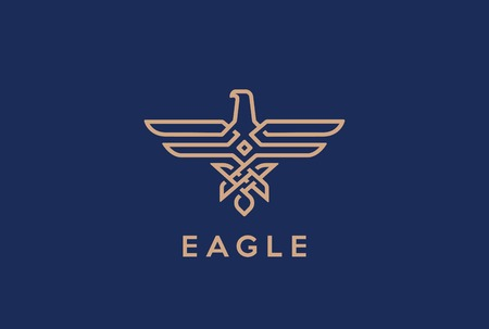 flying: Eagle Abstract Logo design vector template Linear style. Hawk lineart icon.  Falcon outline loop jewelry fashion Logotype Heraldic concept.