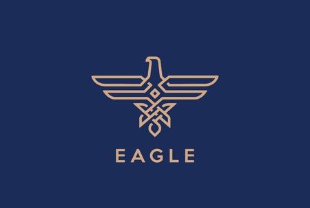 estilo lineal plantilla de diseño vectorial del logotipo de Eagle abstracto. icono de lineas de halcón. contorno Falcon joyería de moda bucle de logo concepto heráldico.