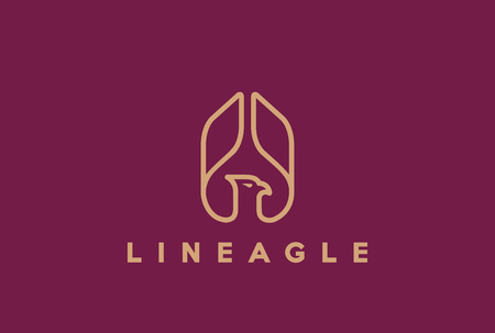 hawk: Eagle Abstract rising Wings  design vector template Linear style. Hawk lineart icon. Falcon outline loop jewelry fashion  concept. Illustration