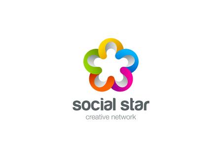 community group: Social star  design vector template. Teamwork web concept. Partnership Friendship team work . Community union group icon. Illustration