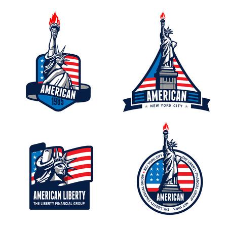 アメリカ自由の女神像のバッジ デザイン ベクトル テンプレート。7 月 4 日アメリカ。 自由正義真実資本名誉愛国民主主義のアメリカ合衆国のシン