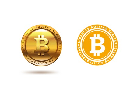 Bitcoin gouden medaille ontwerp vector template. Twee versies van Fintech Blockchain: Vlak en 3D