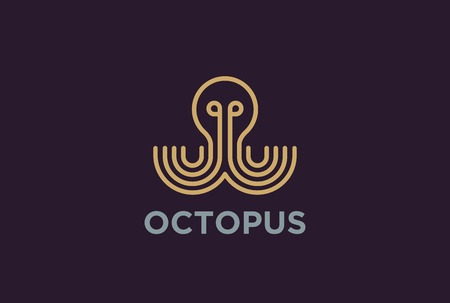 pulpo: Geometric Octopus  design vector template Linear style. Luxury lineart icon. Outline Seafood restaurant  Jewelry Fashion concept.
