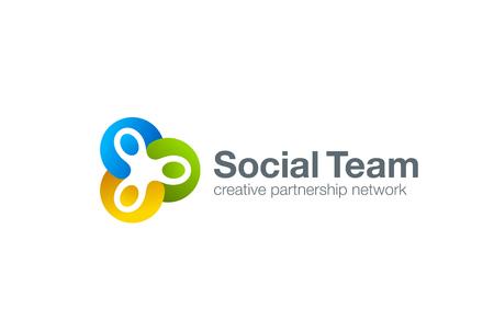 El trabajo en equipo Logo Social plantilla de diseño vectorial. Tres hombres tomados de la mano. Asociación de Amistad del trabajo en equipo de logo. Comunidad grupo de unión de triple icono. Logos